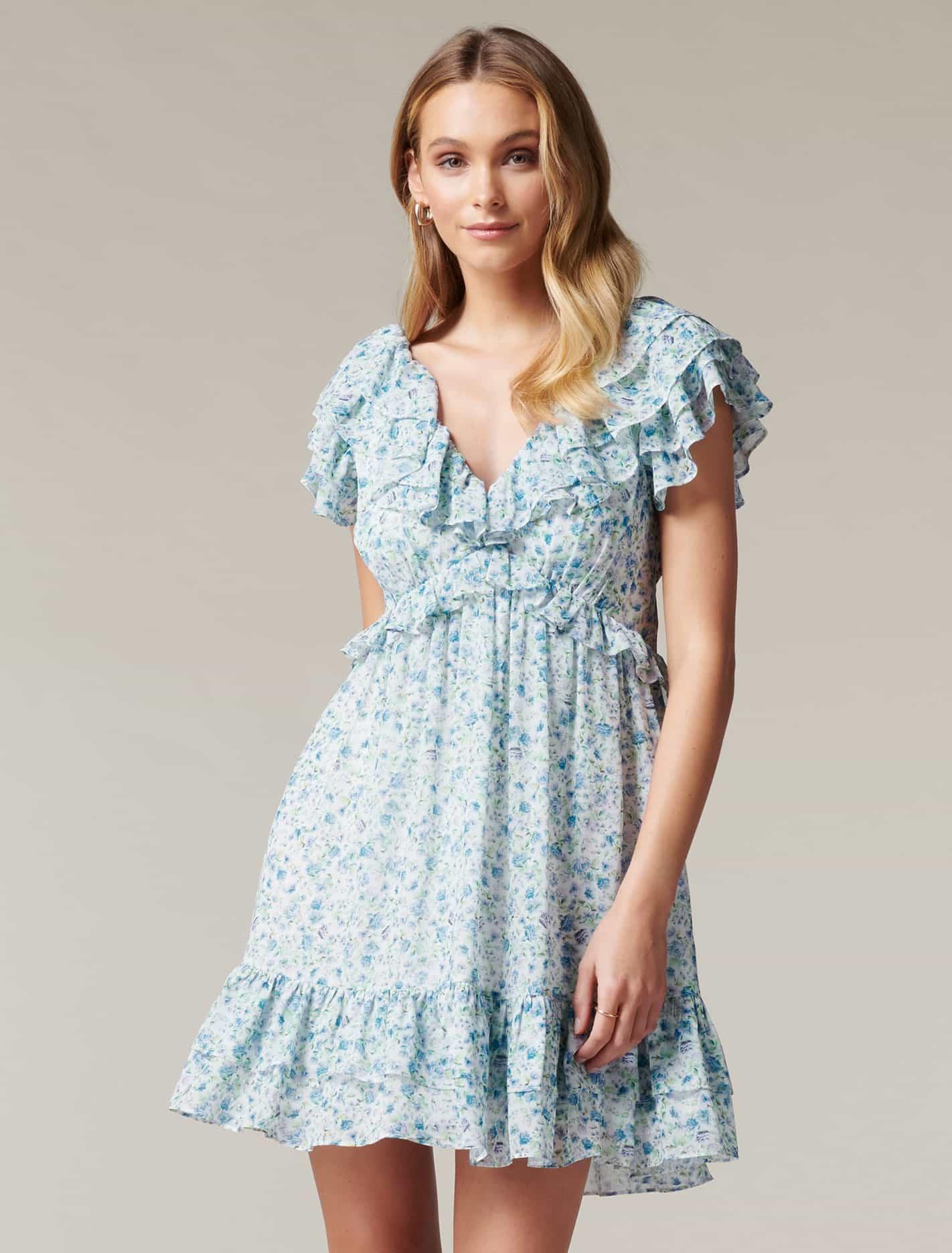 Ever New Polly Ruffle Mini Dress - Heather Ditsy