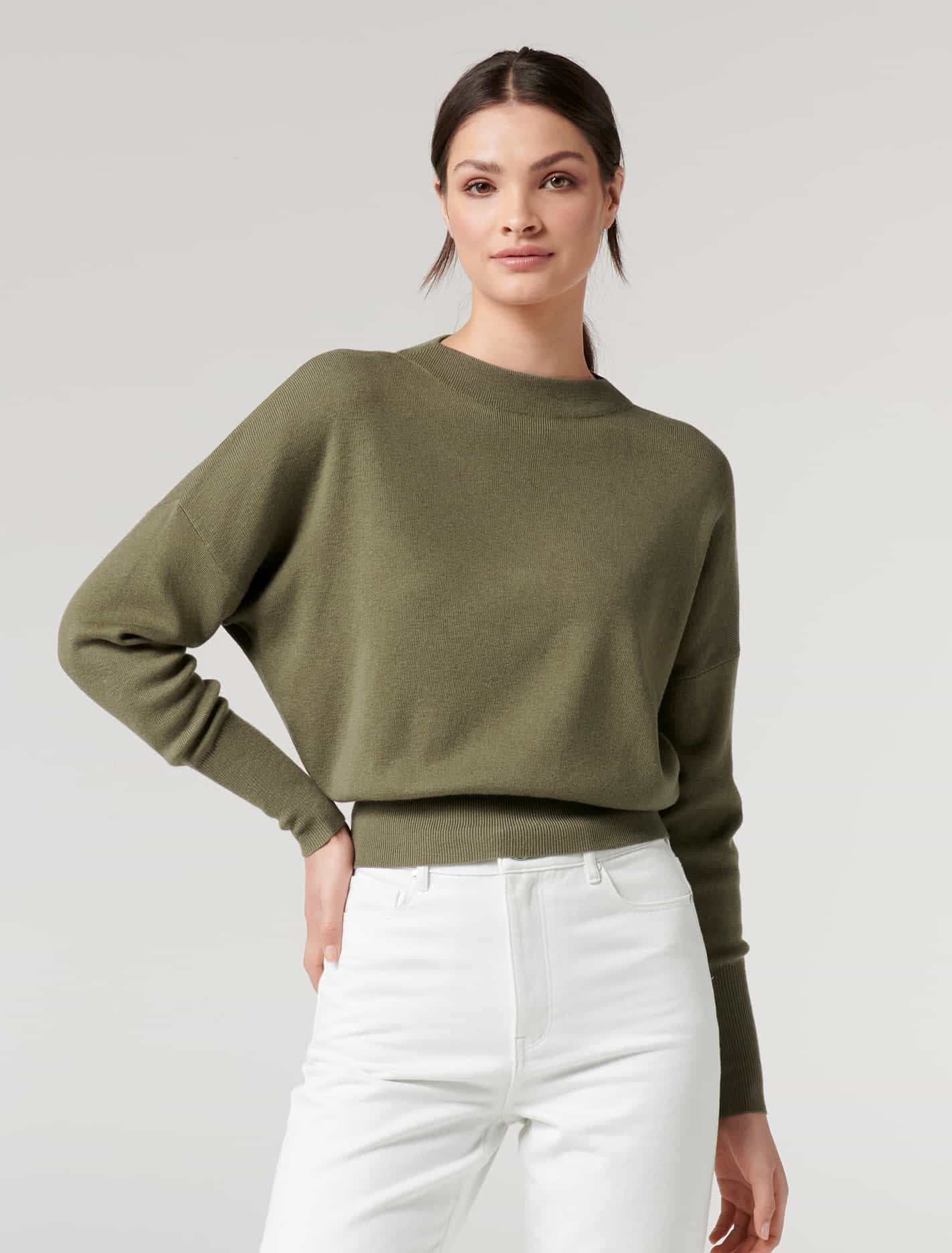 Ever New Hannah Batwing Essential Sweater - Khaki