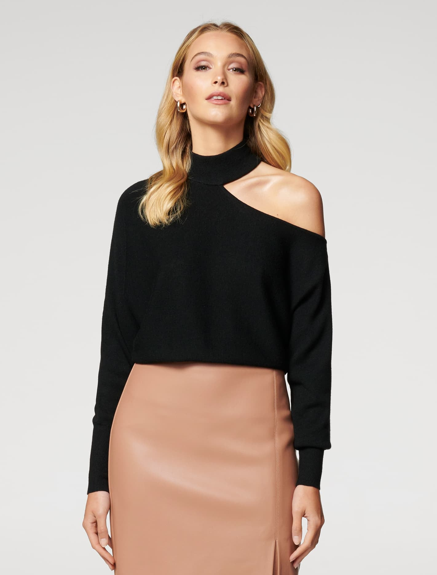 Ever New Nelly Cut Out Shoulder Sweater - Black
