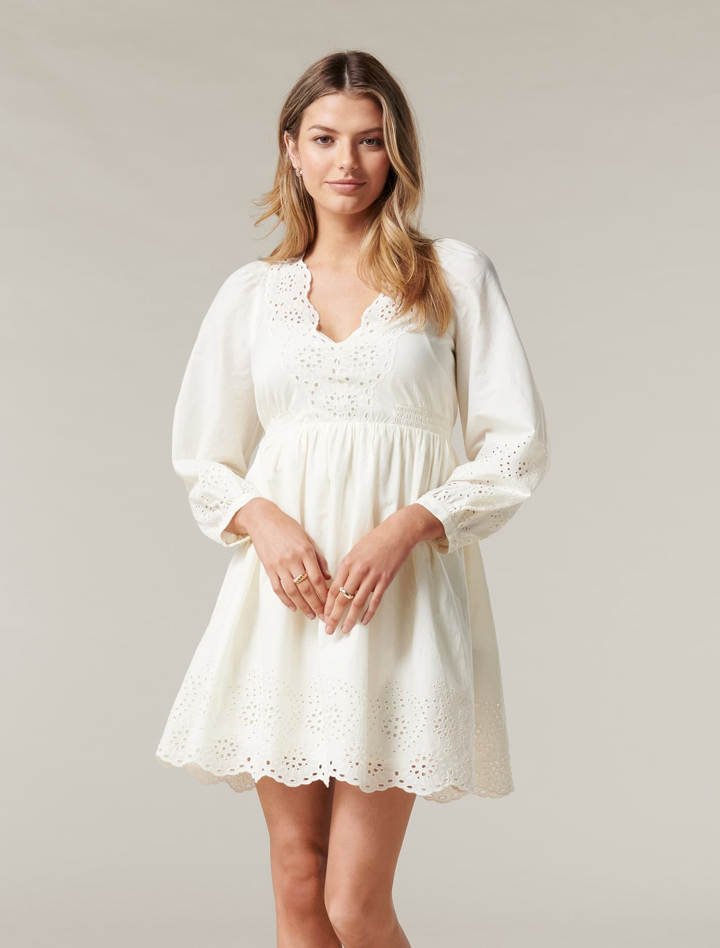 Ever New Esther Puff Sleeve Cutwork Dress - Cream