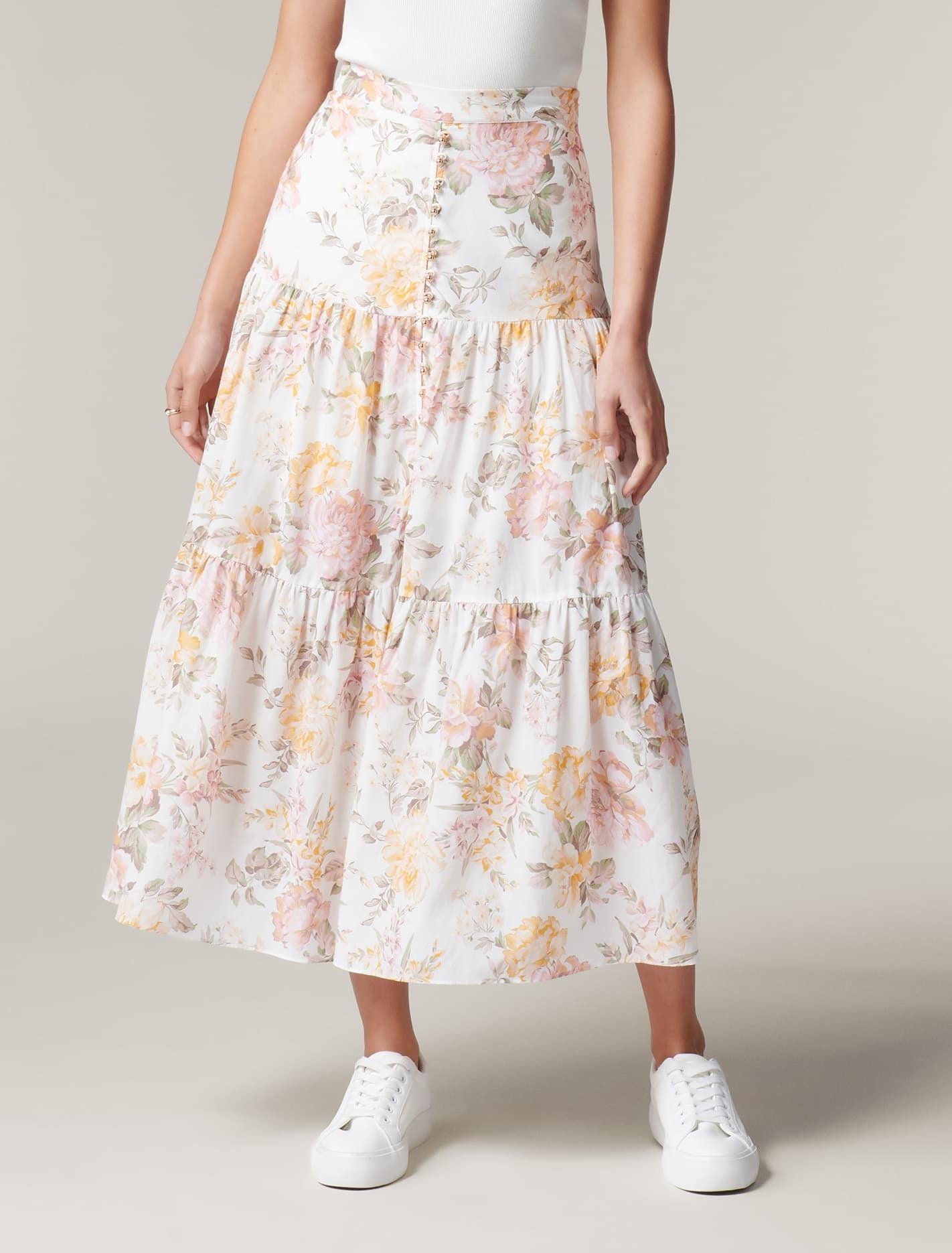 1980s Clothing, Fashion | 80s Style Clothes Fleur Tiered Maxi Skirt - Vintage Splendor - 384 $109.99 AT vintagedancer.com