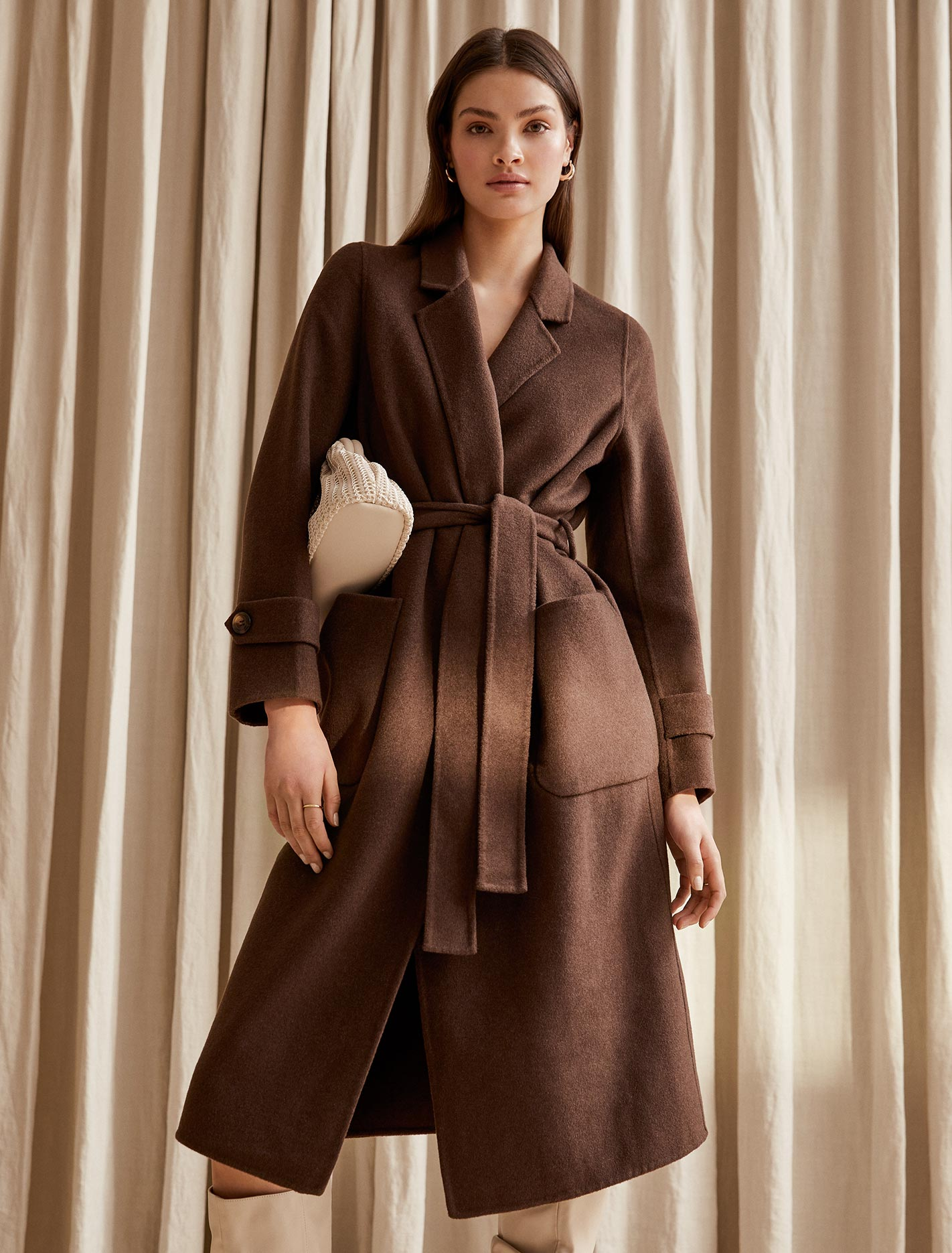 Ever New Hanna Wrap Coat - Chocolate