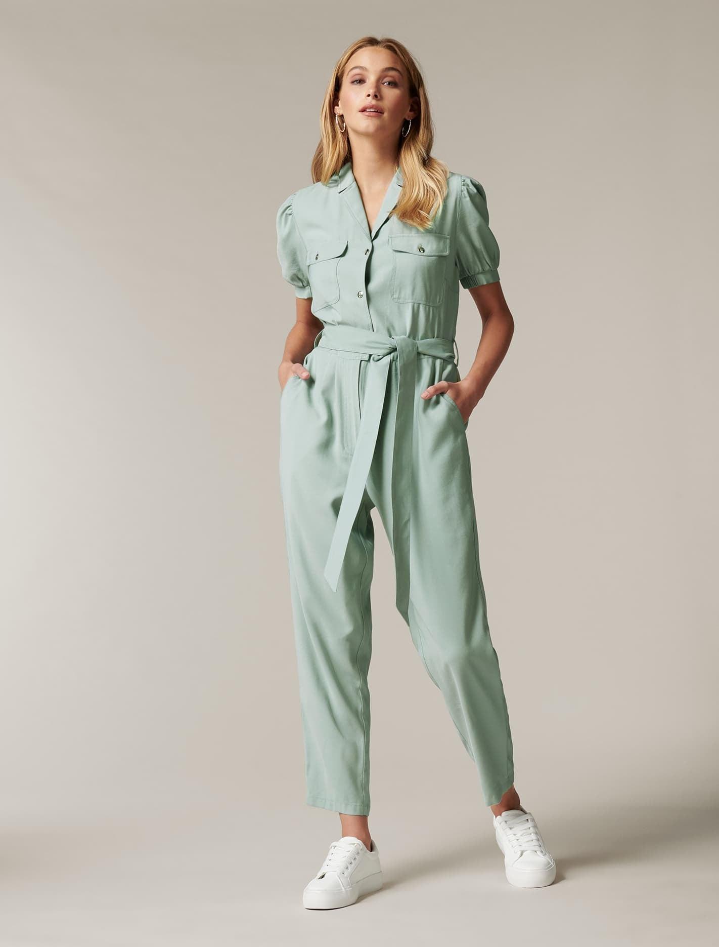 Vintage Overalls & Jumpsuits Zara Puff-Sleeve Utility Jumpsuit - Soft Khaki - 384 $89.99 AT vintagedancer.com
