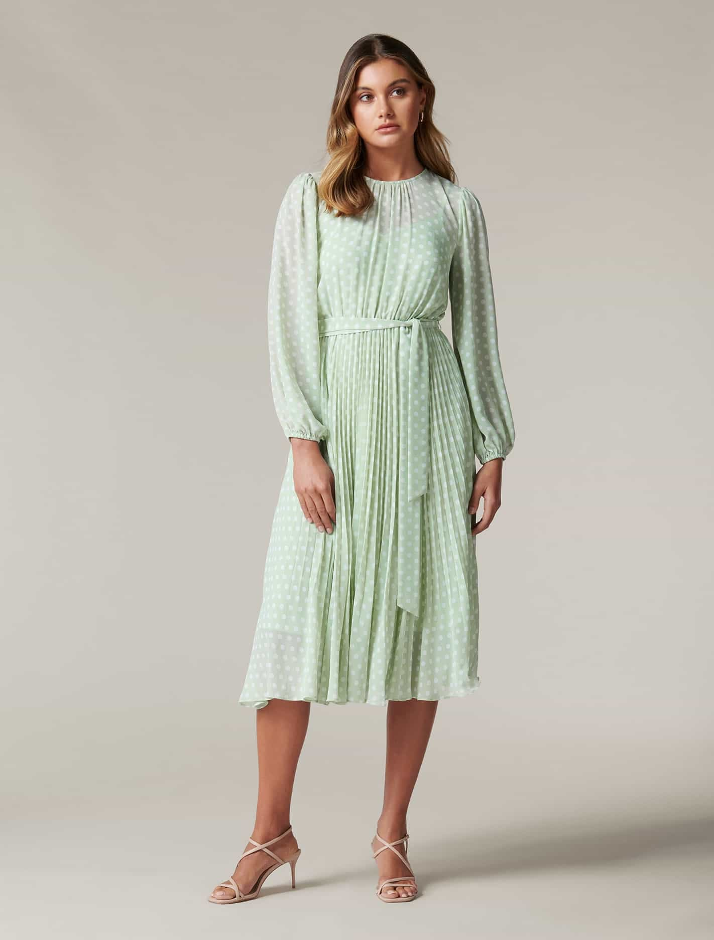 1980s Clothing, Fashion | 80s Style Clothes Fiona Petite Pleat Midi Dress - Herb Havana Spot - 12 $169.99 AT vintagedancer.com