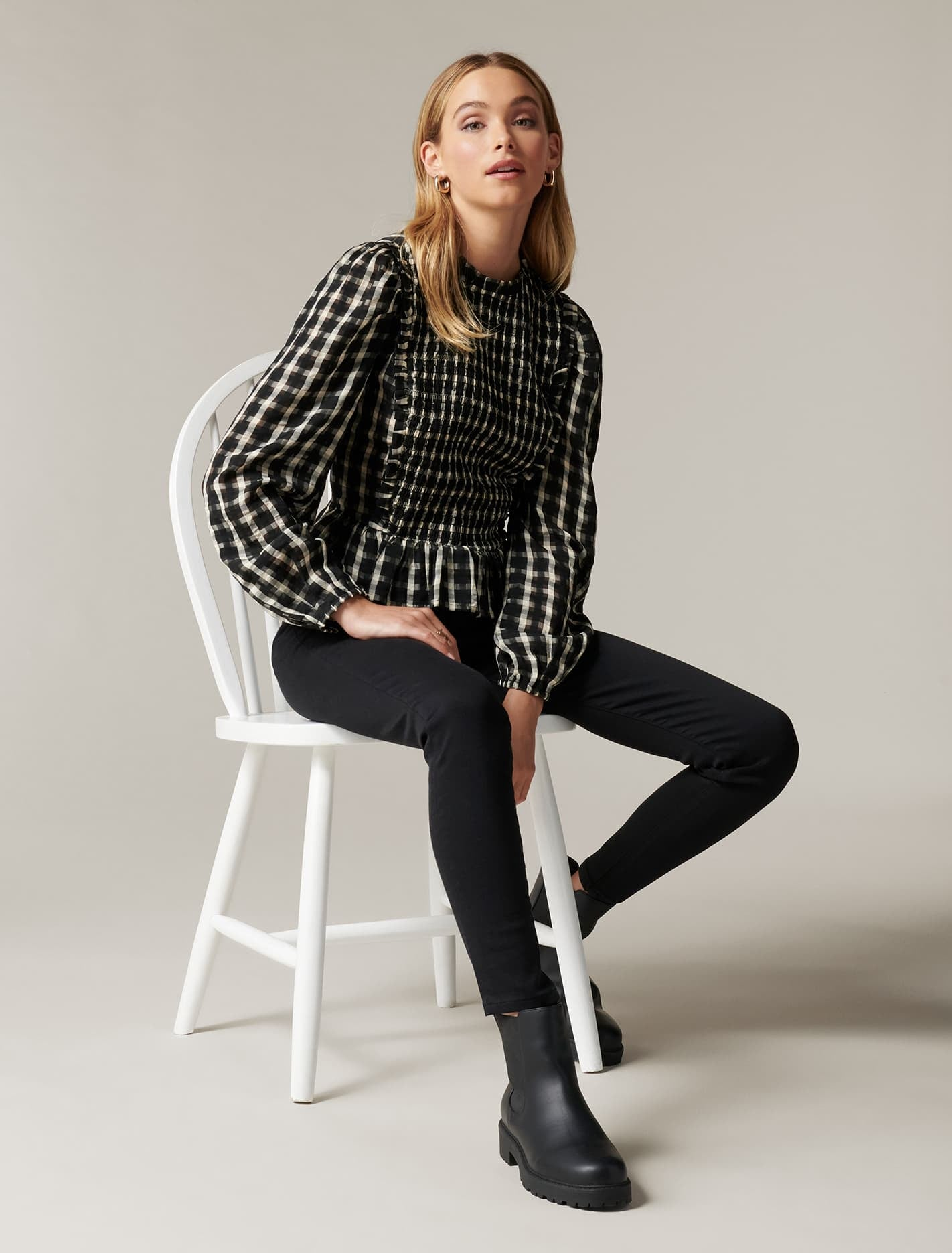 Ever New Tilly Shirred Check Top - Winter Check