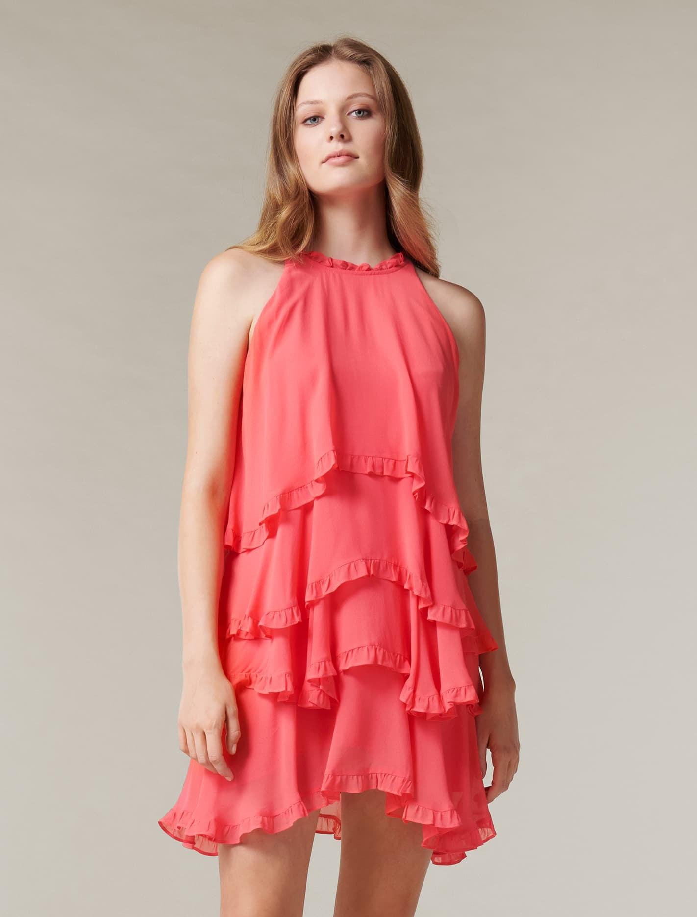 Ever New Greta Ruffle Mini Dress - Coral