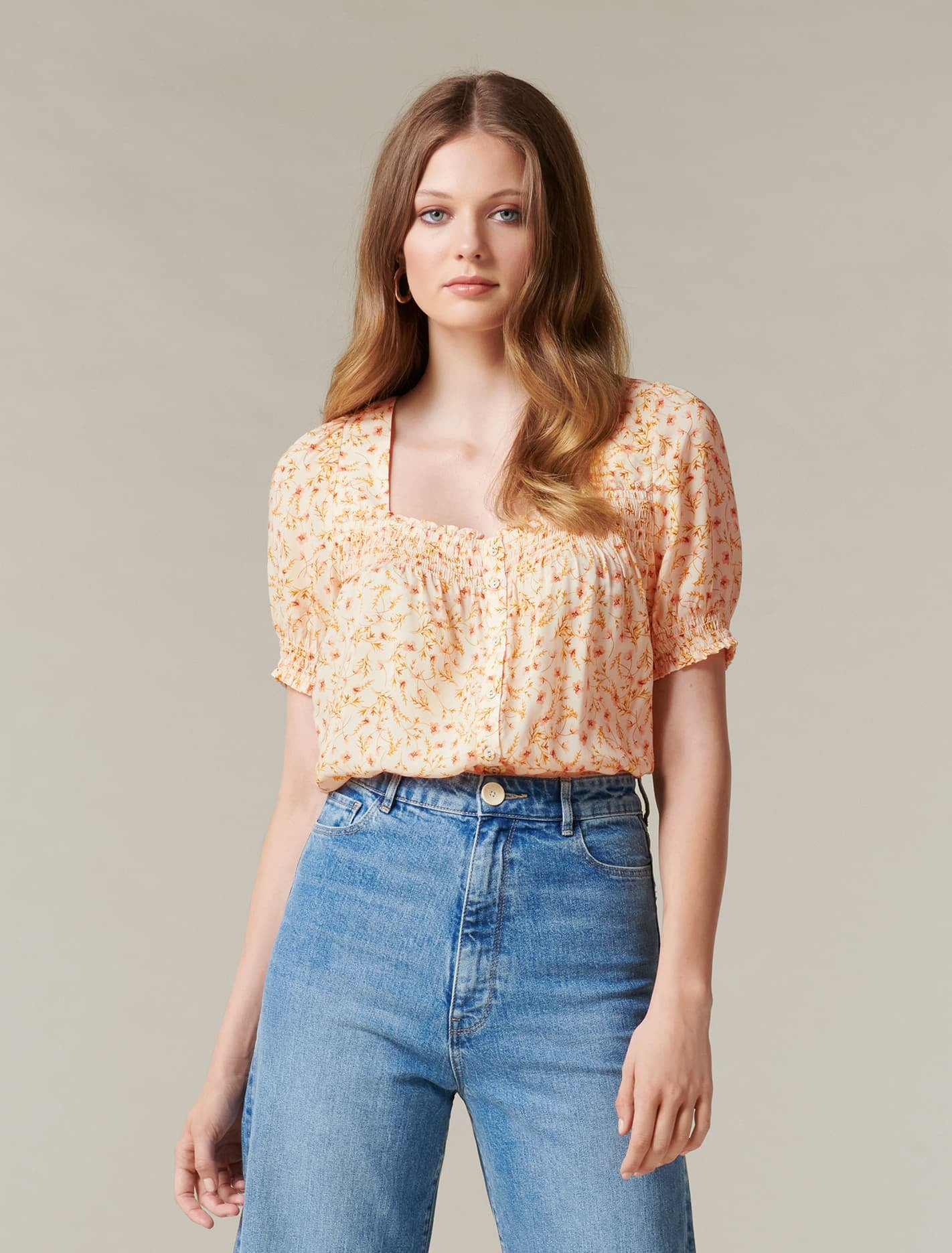 Ever New Mon Square neck button through - Flushed Coral Ditsy