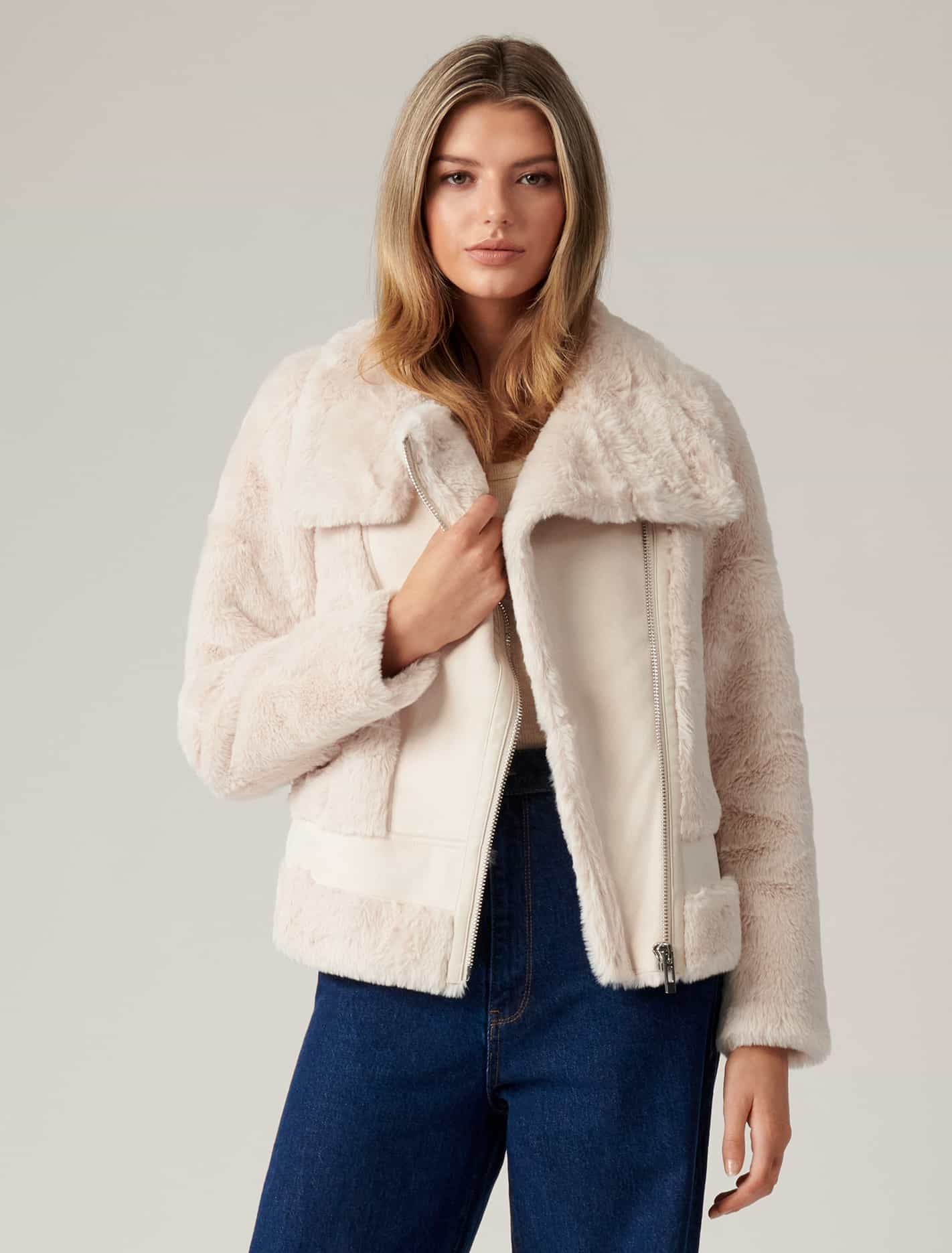 Ever New Dule Shearling Jacket - Cream