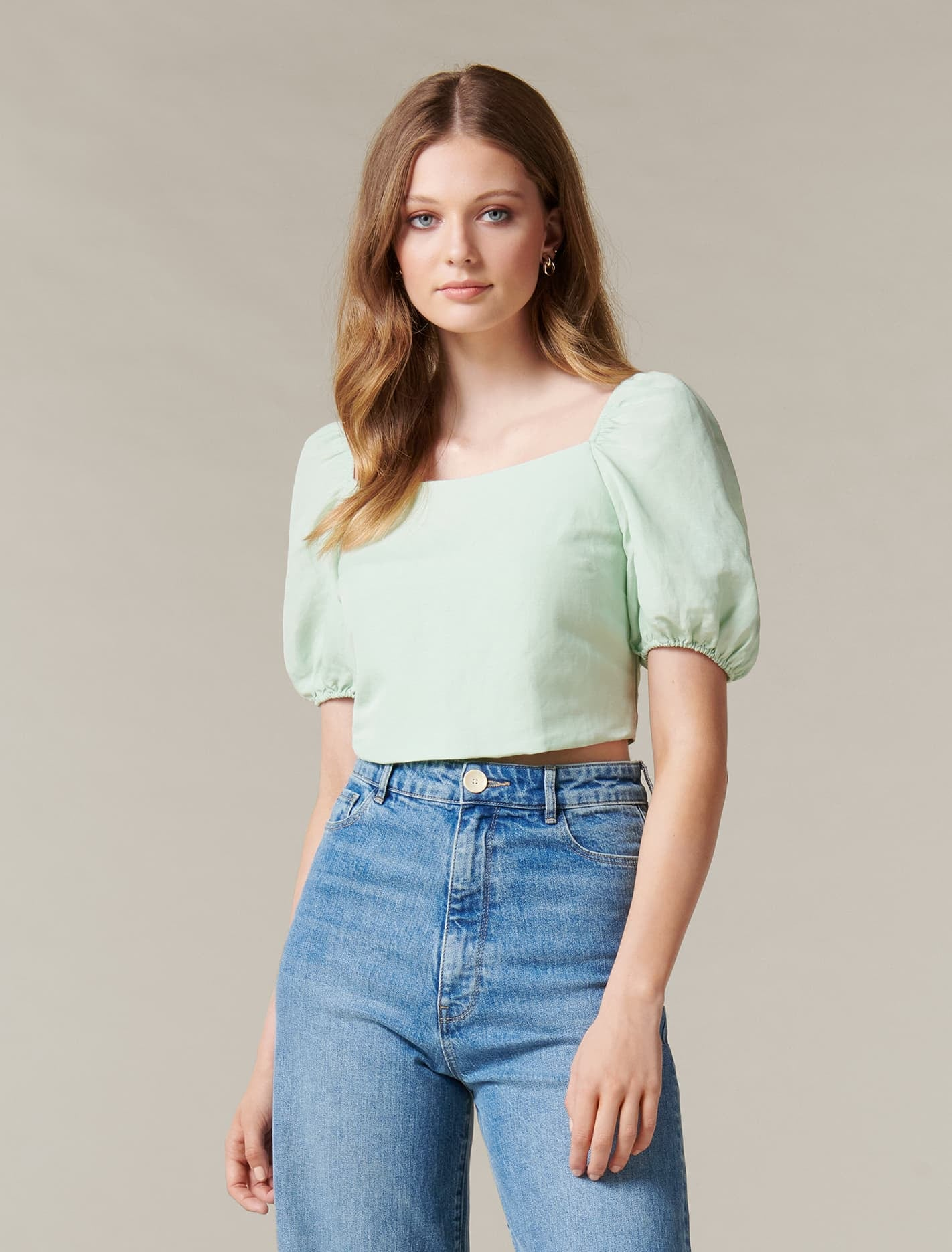 Ever New Jessica Lace-Up Square-Neck Linen Top - Green