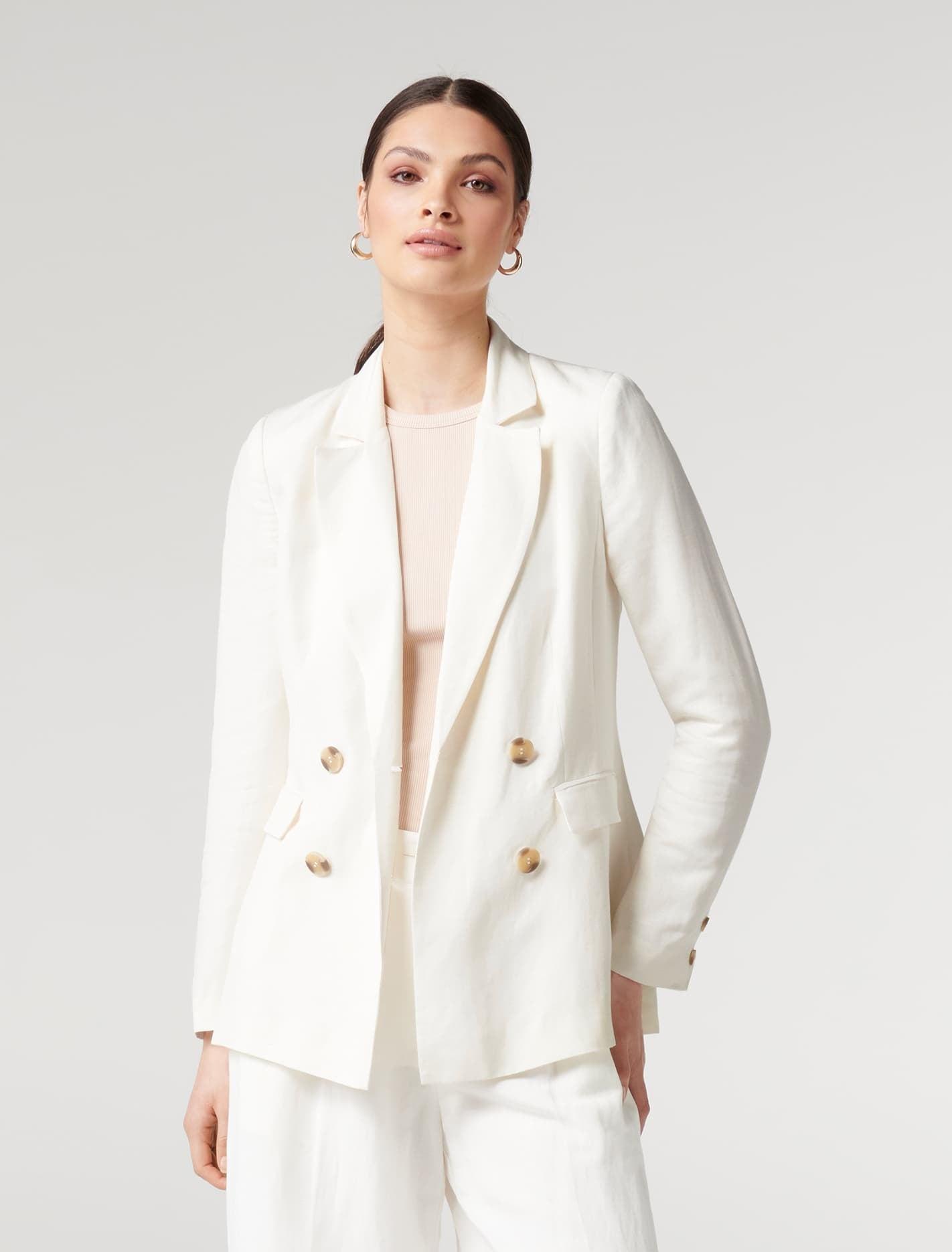 Ever New Clara Linen Blazer - Ivory
