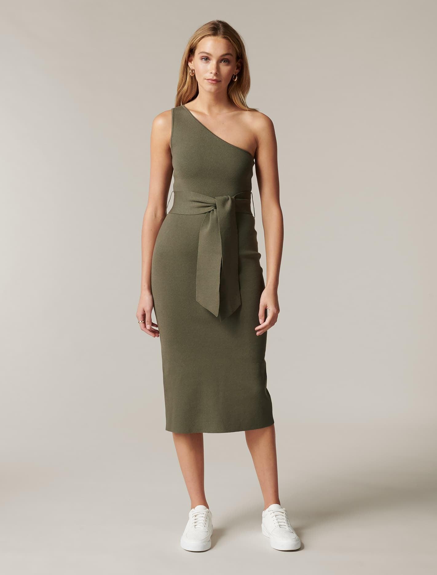 Ever New Lauren One-Shoulder Midi Knit Dress - Khaki