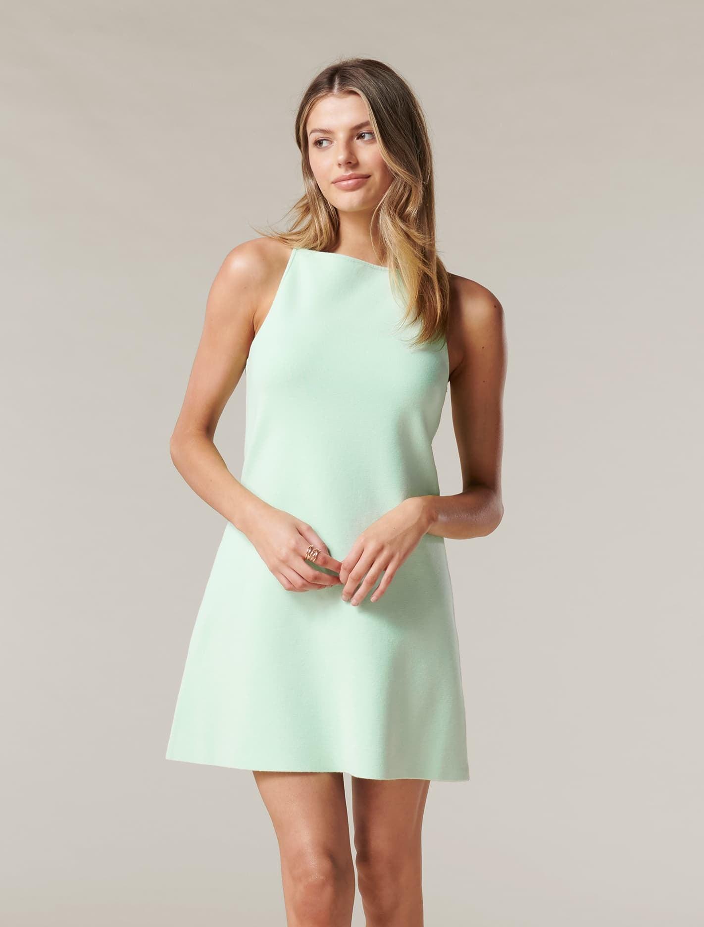 Ever New Elena A-line Mini Knit Dress - Mint Tint