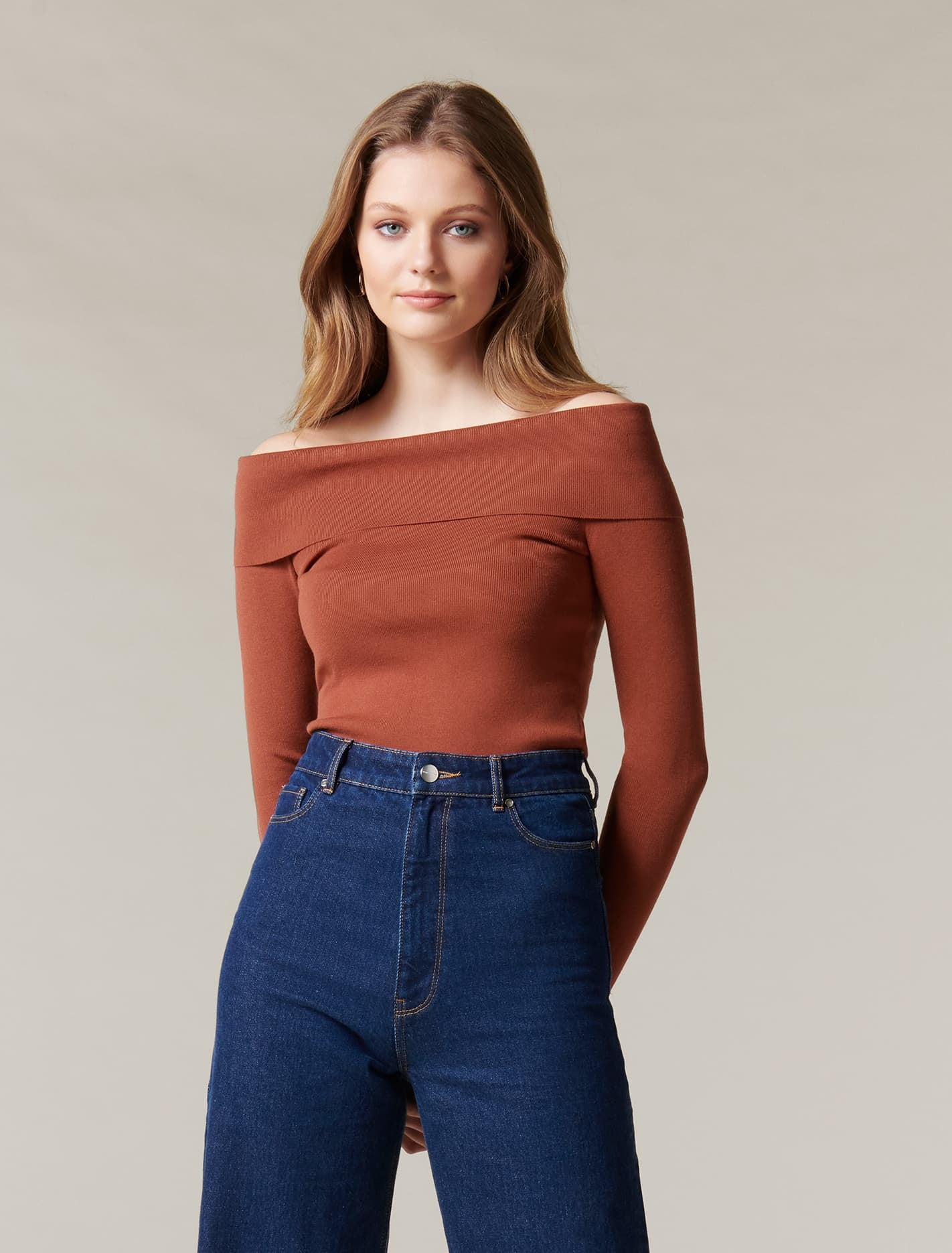 Ever New Angeline Bardot Knit Top - Rust