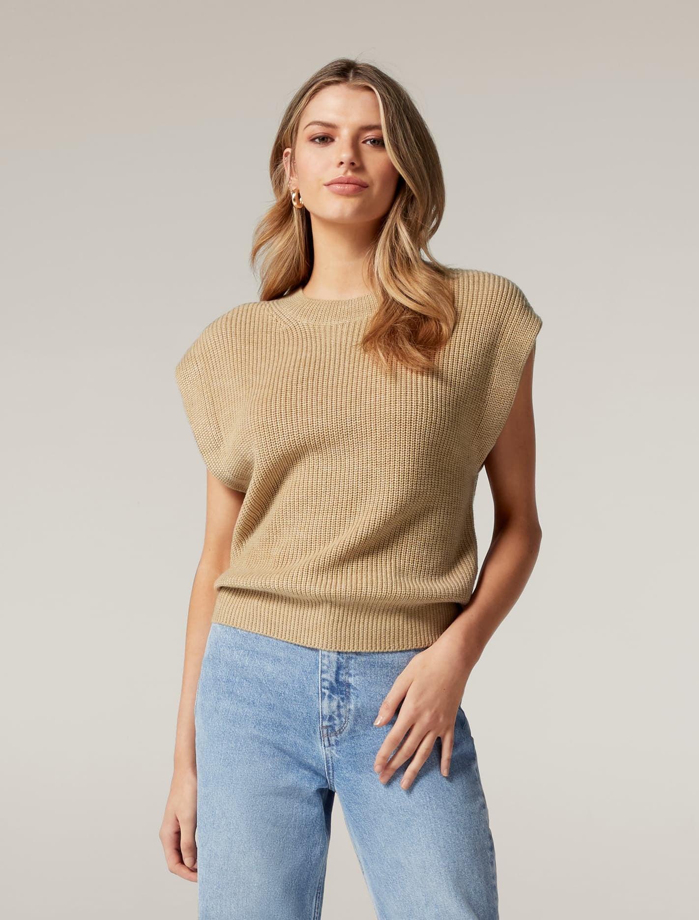 Ever New Erin Extended Shoulder Knit Tank - Camel