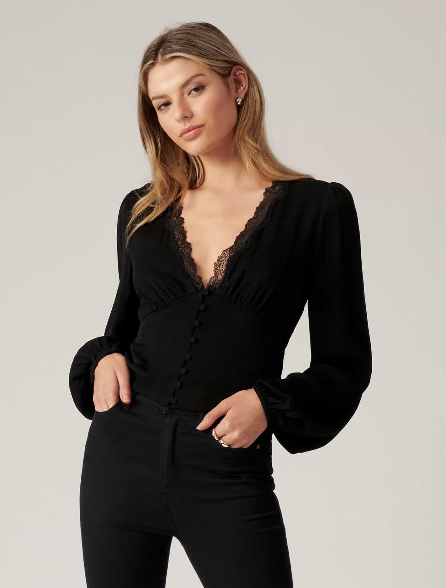 Ever New Elise Lace Trim Blouse - Black
