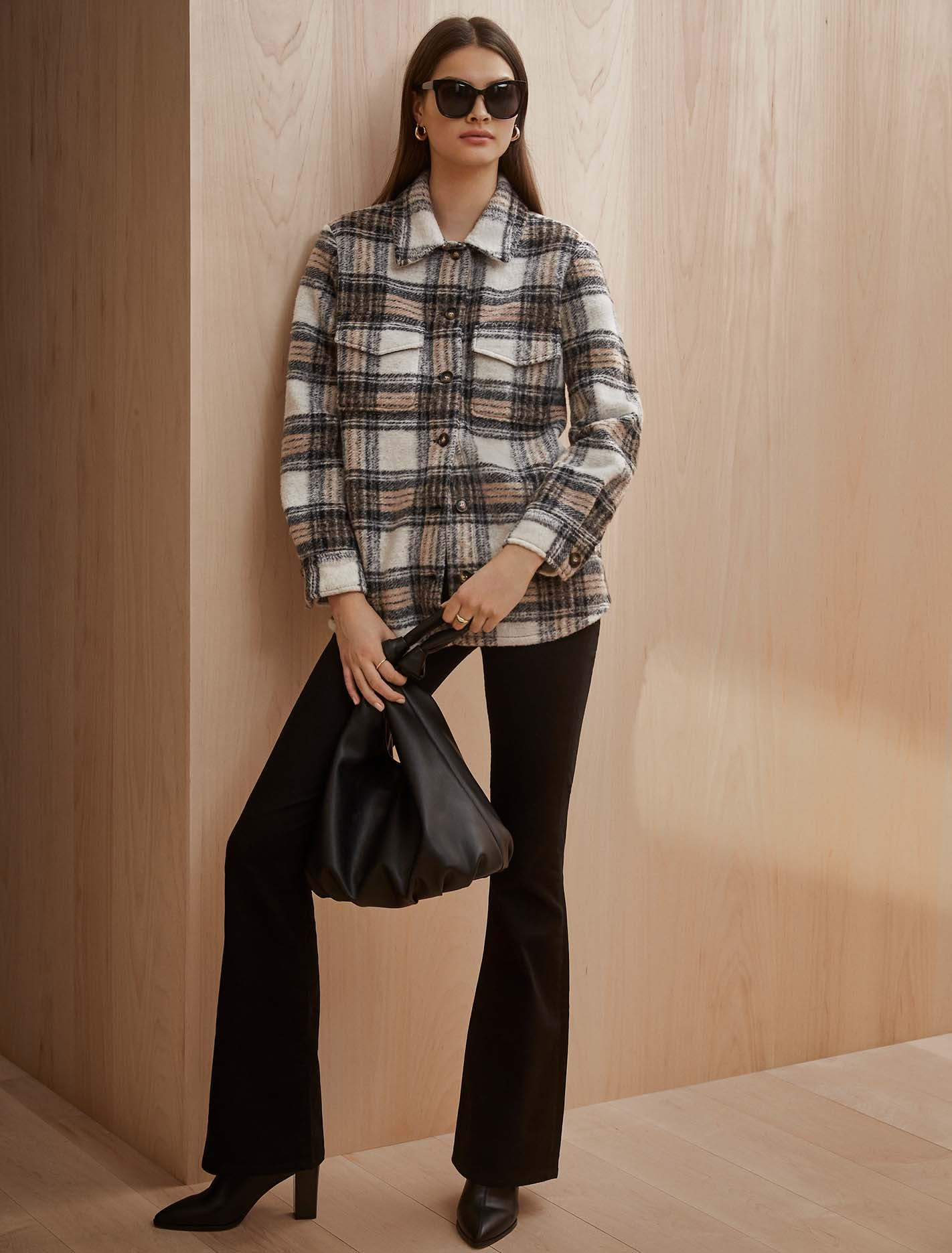 Ever New Country Check Shacket - Brown/Beige/Black Check