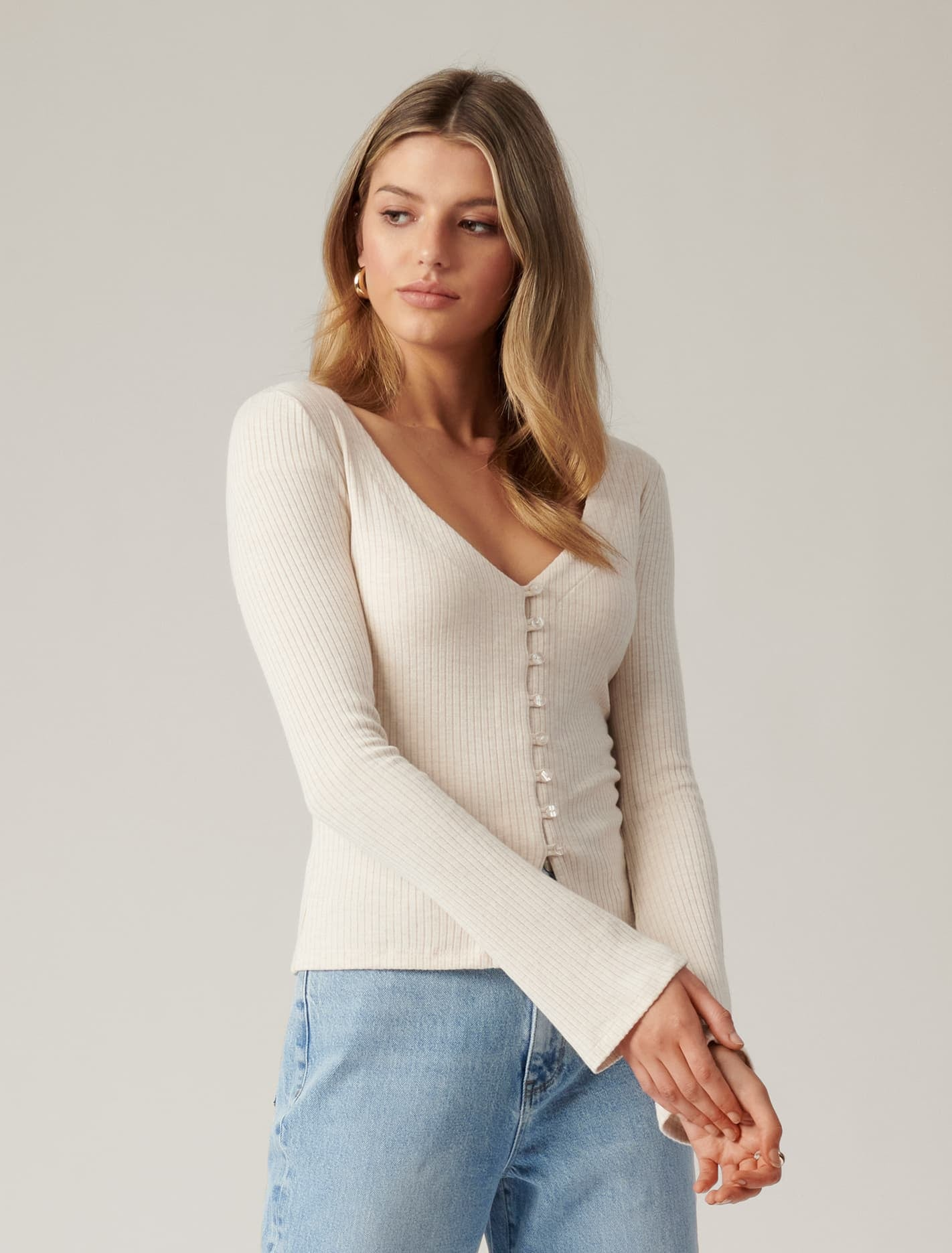 Ever New Brittany Button Down Cardi Top - Oatmilk