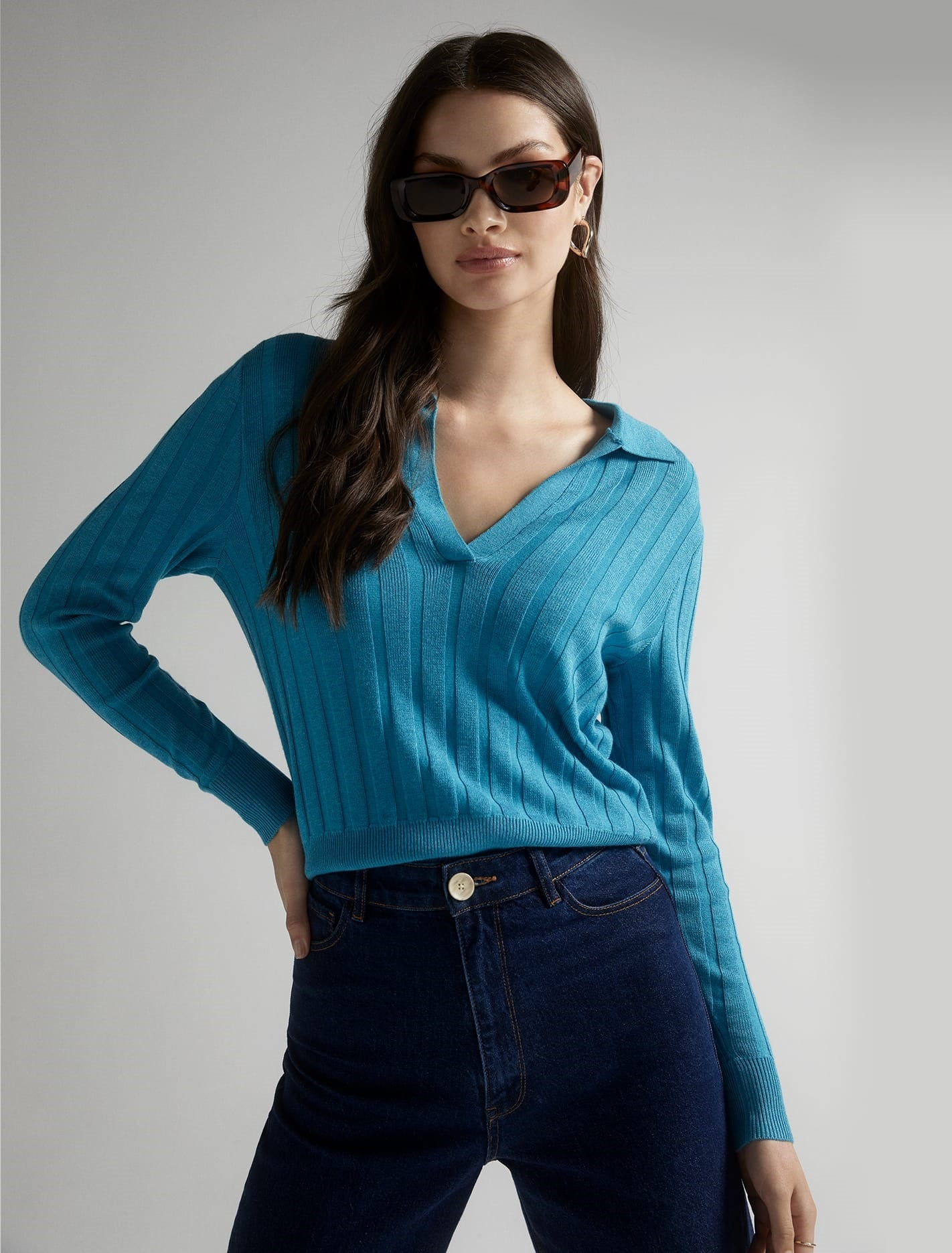 Ever New Isla Cinched Polo Sweater - Indian Ocean