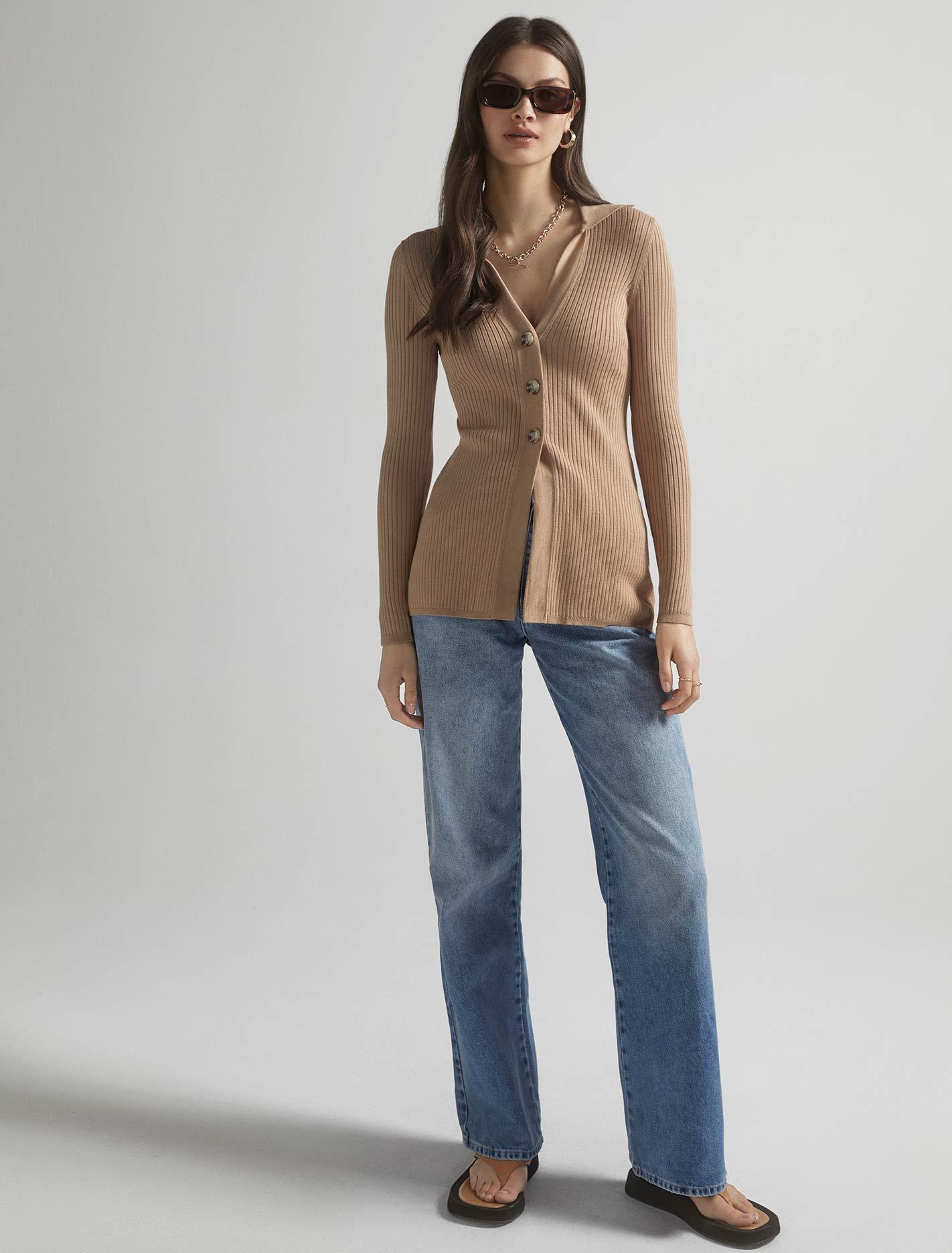Ever New Beth Collar Knit Cardigan - Camel