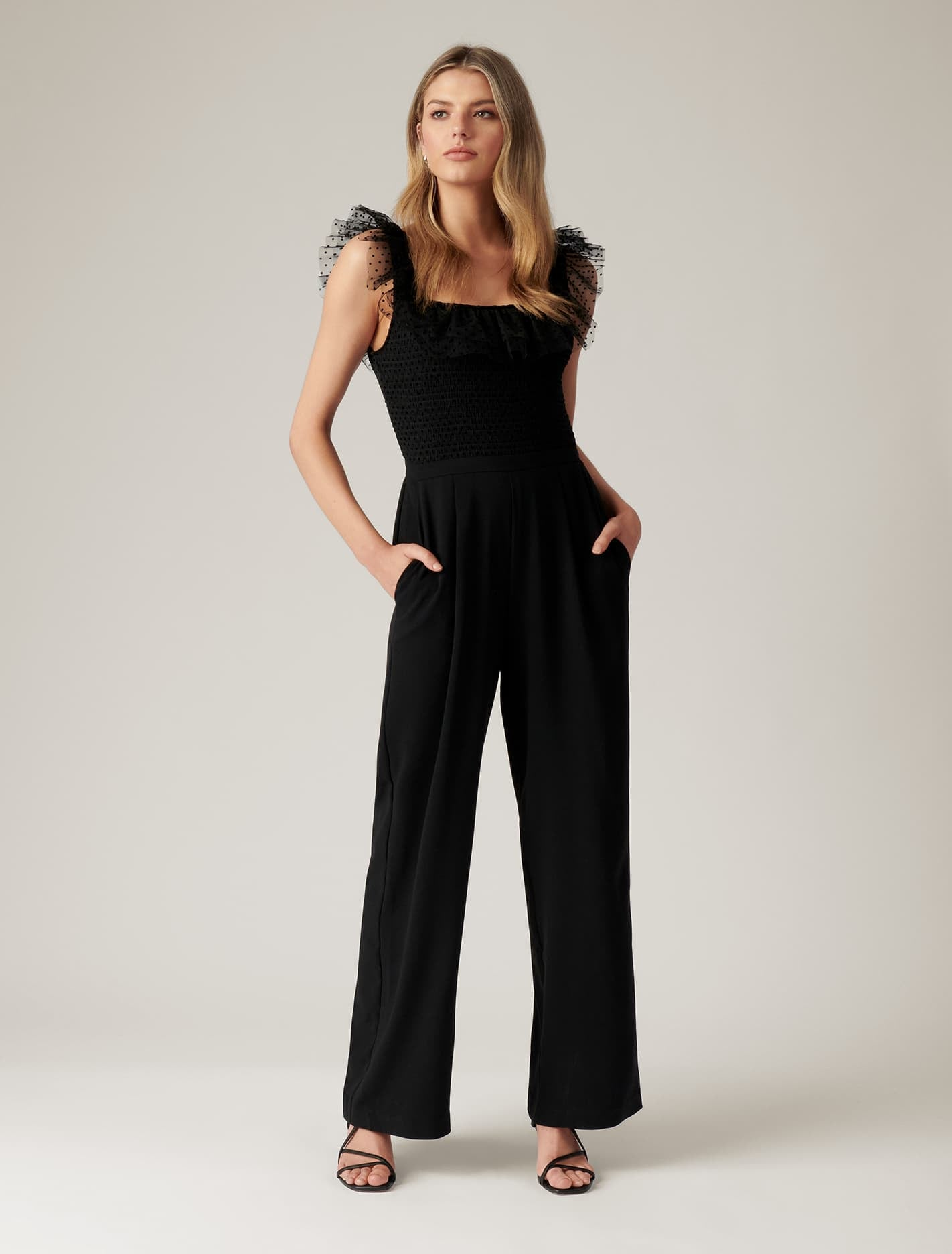 Ever New Mercy Ruffle-Sleeve Jumpsuit - Black
