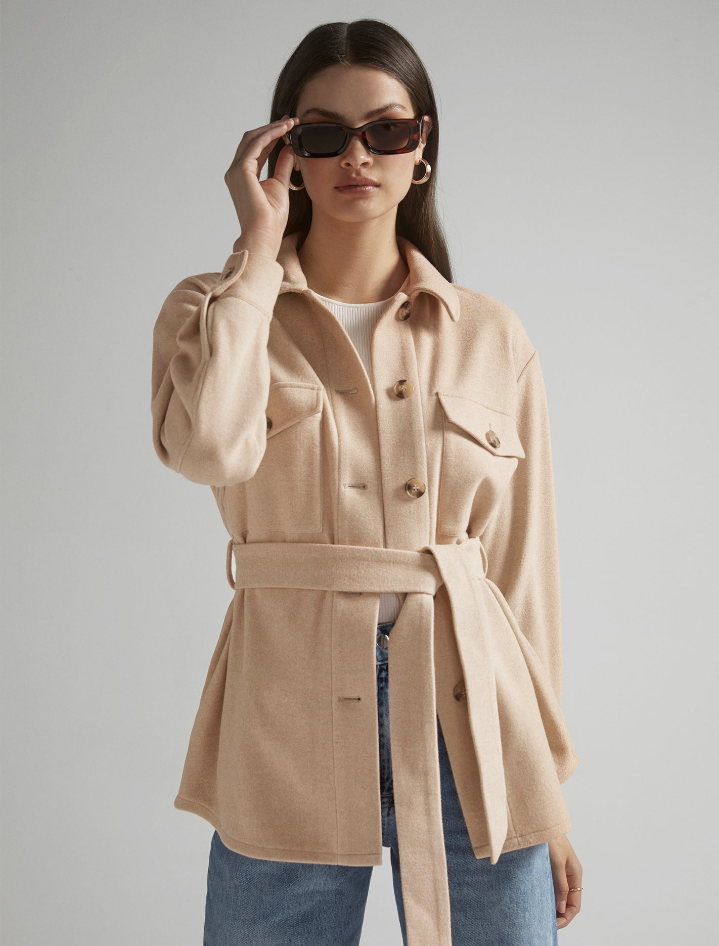 Ever New Rosie Belted Shacket - Soft Oatmeal