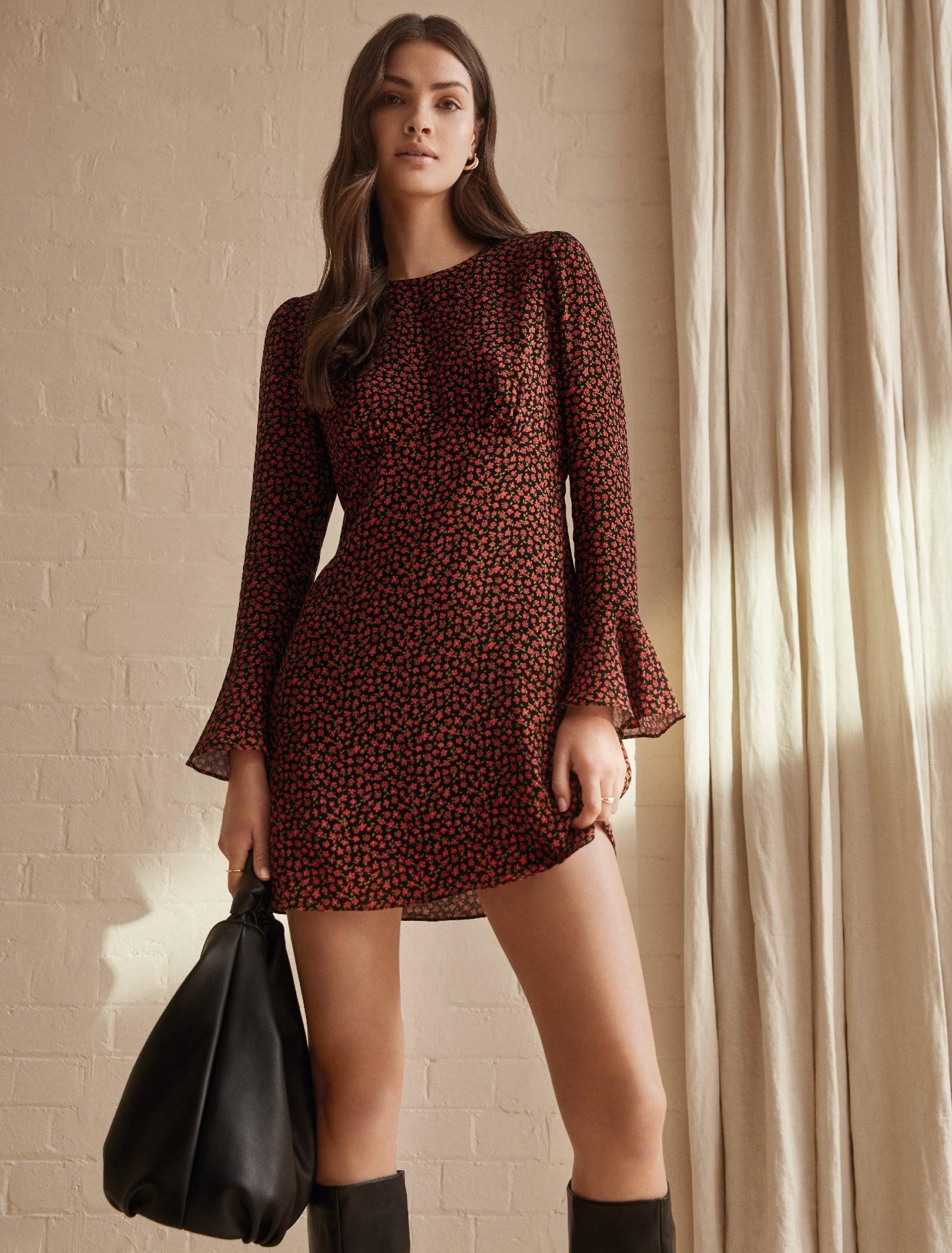 Ever New Aspen Flare Sleeve Mini Dress - Cranberry Ditsy
