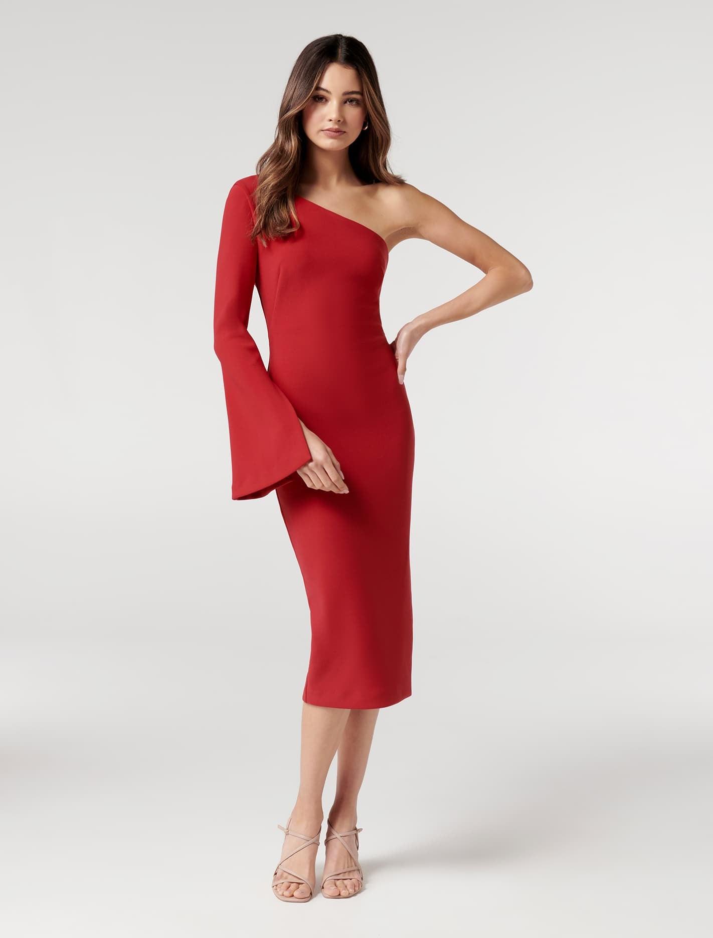 Ever New Loridana Flared One-Sleeve Bodycon Midi Dress - Tango Red