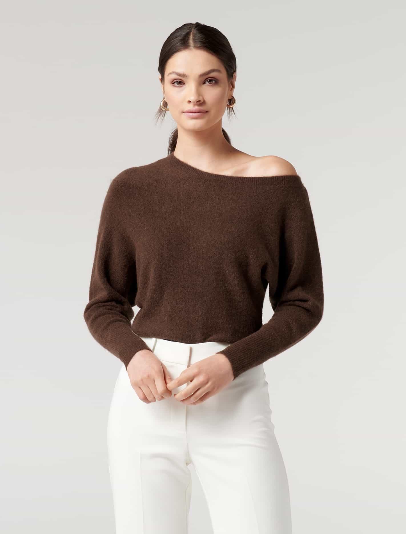 Ever New Madelyn Off-Shoulder Knit Sweater - Conker
