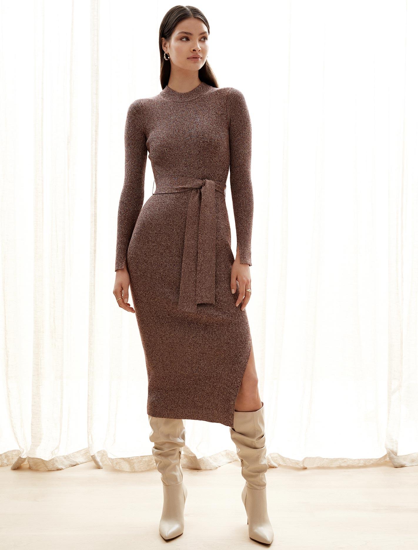 Ever New Grayson Midi Knit Dress - Rust Twist