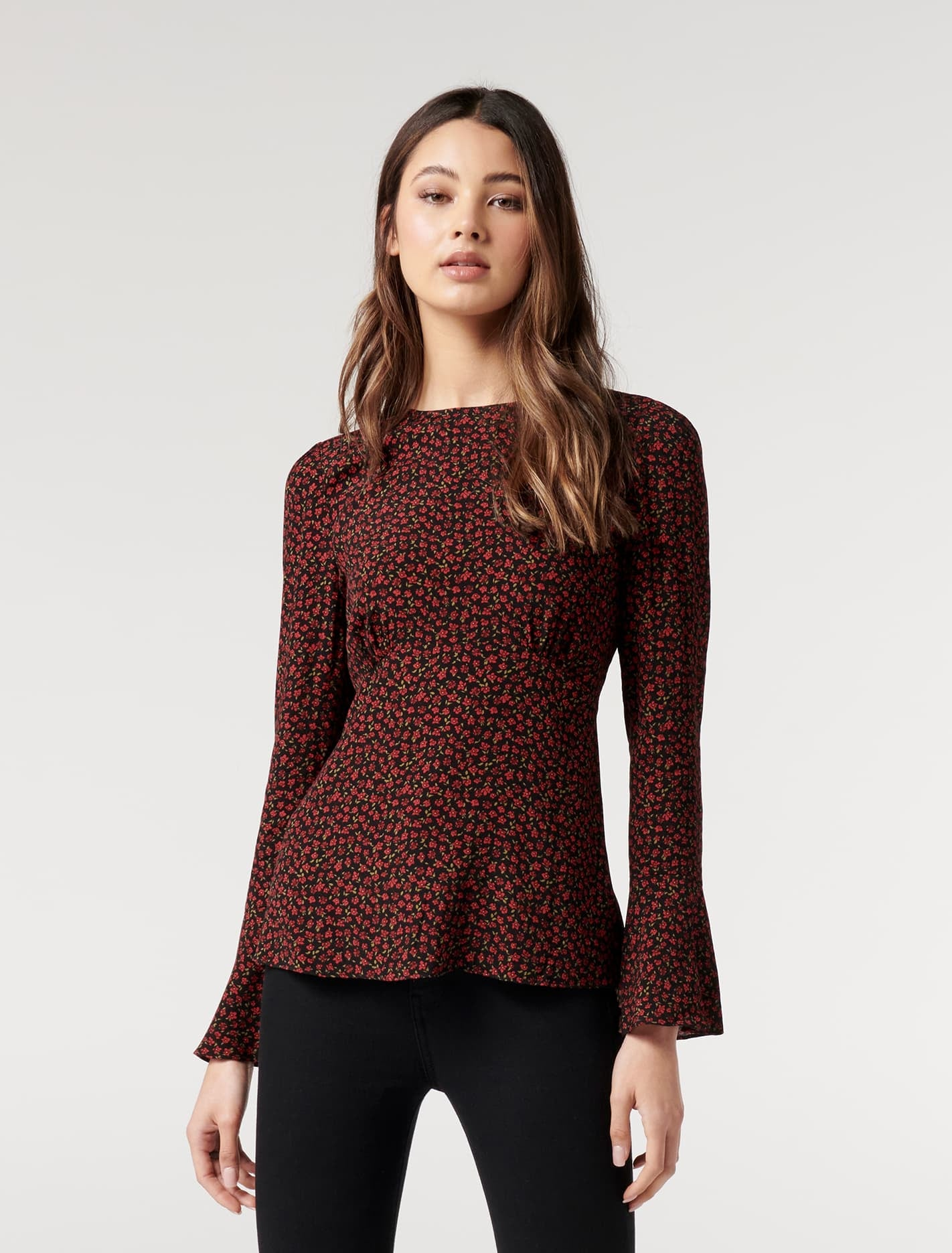 Ever New Fifi Flared-Sleeve Blouse - Cranberry Ditsy