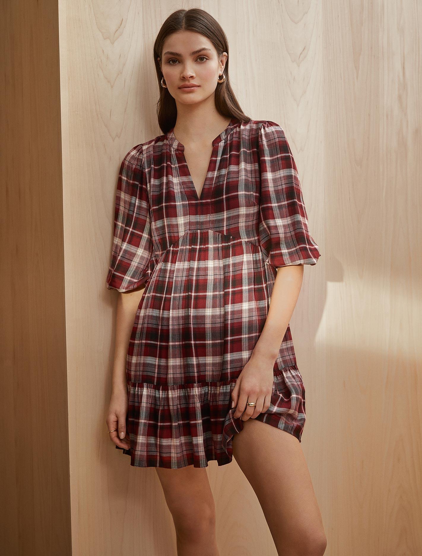 Ever New Claudia Check Smock Dress - Cabernet Check