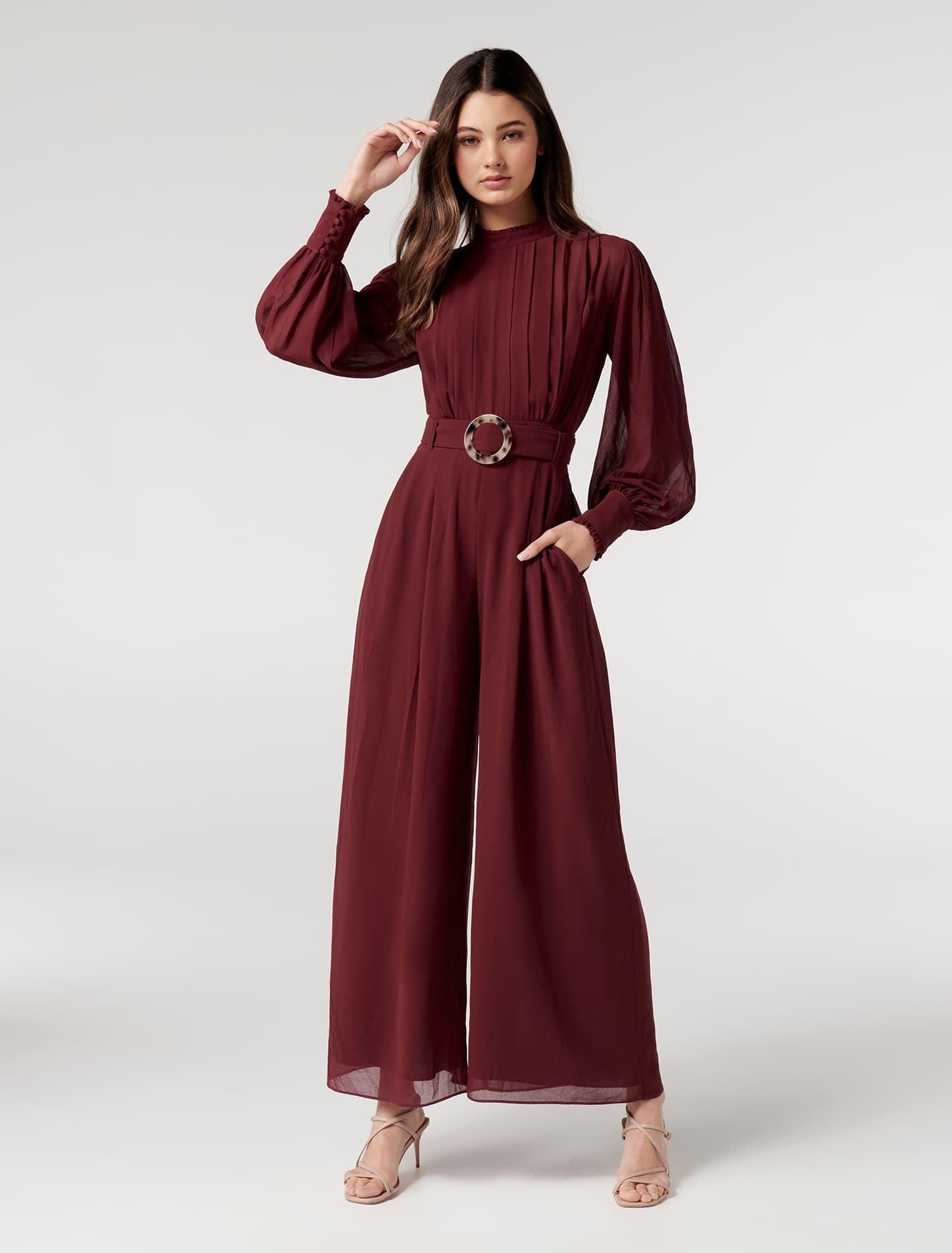 Ever New Octavia Petite Pleated Jumpsuit - Wine
