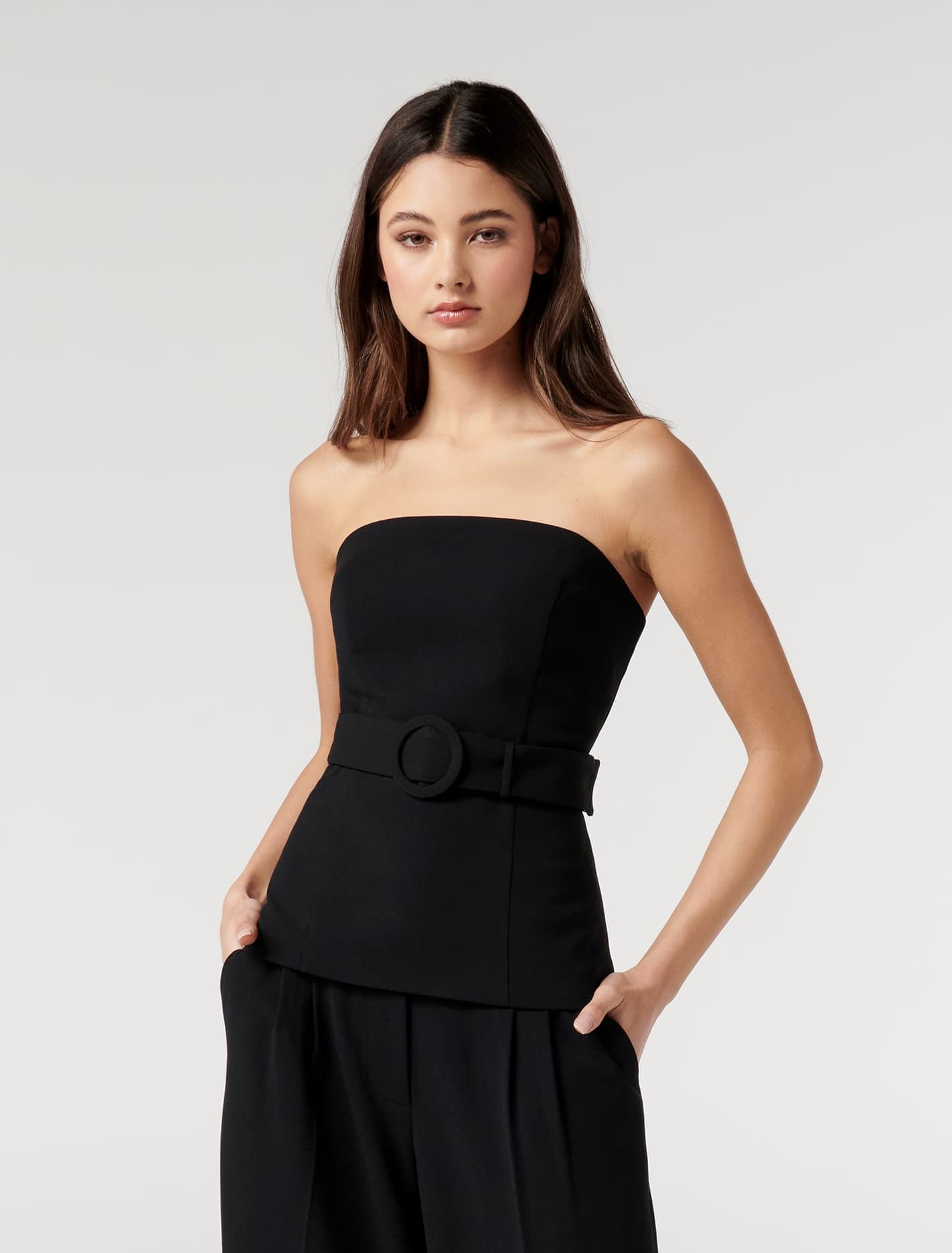 Ever New Remi Petite Strapless Belted Top - Black