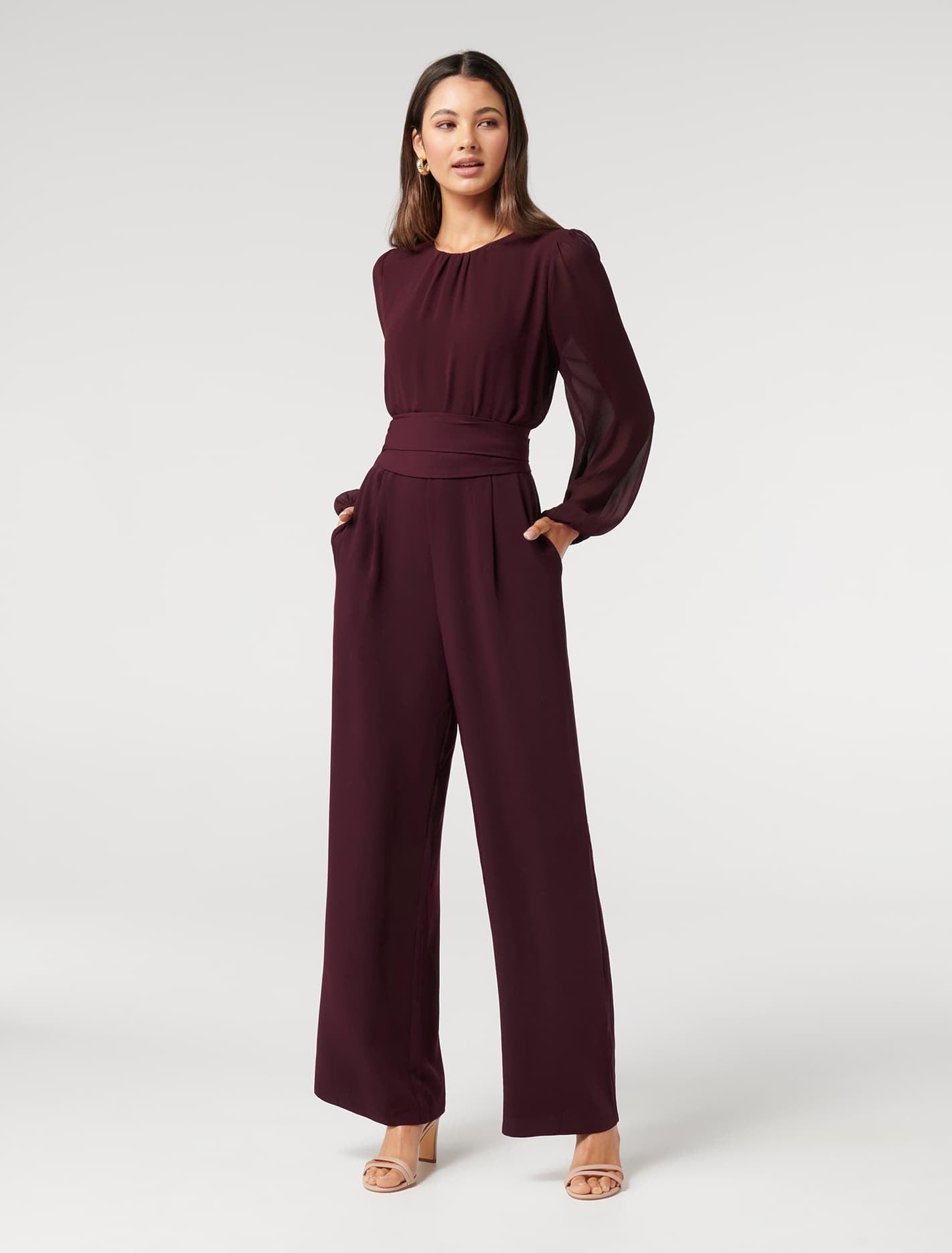 Ever New Ivy Long-Sleeve Jumpsuit - Deep Burgundy