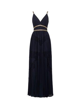 Kayla Spliced Lace Pleated Maxi Dress