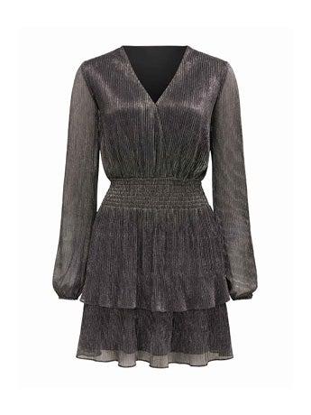 Katie Metallic Plisse Wrap Mini Dress