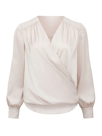 Sandra Petite Gathered Yoke Wrap Shirt