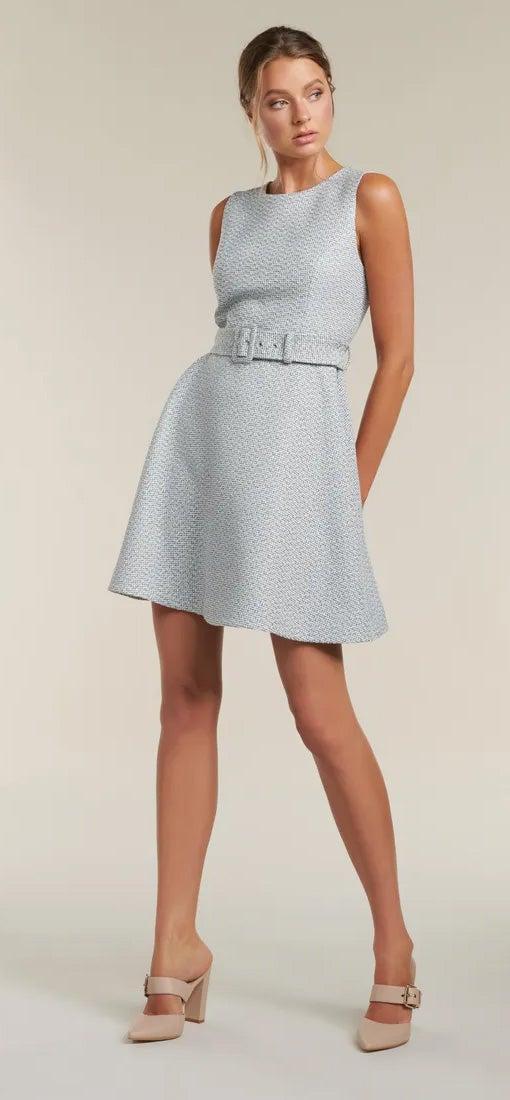 Brenda Belted Boucle Dress