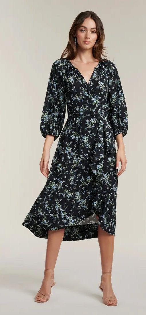 Maya Frill Wrap Midi Dress