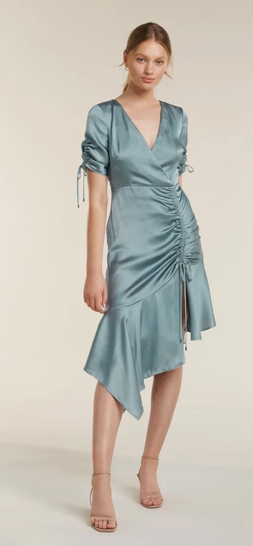 Sally Satin Ruched Dress
