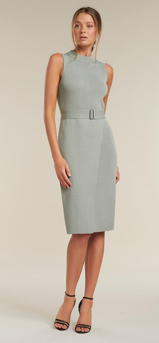 Sophia Belted Midi Knitted Dress
