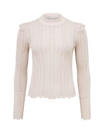 Azalea Pointelle Puff Sleeve Sweater