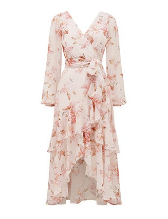 Fleur Long-Sleeve Wrap Dress