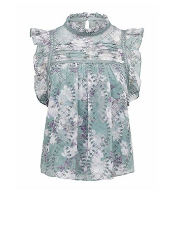 London Embroidered Frill Blouse