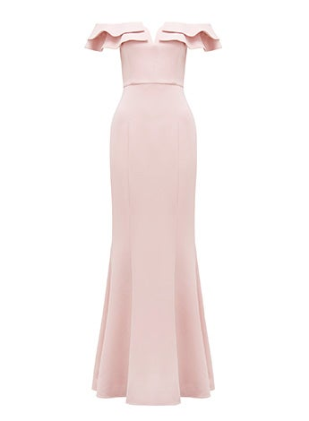 Lulu Ruffle Off-Shoulder Gown