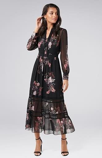 <b>Pipa</b><br />Lace Insert Maxi Dress