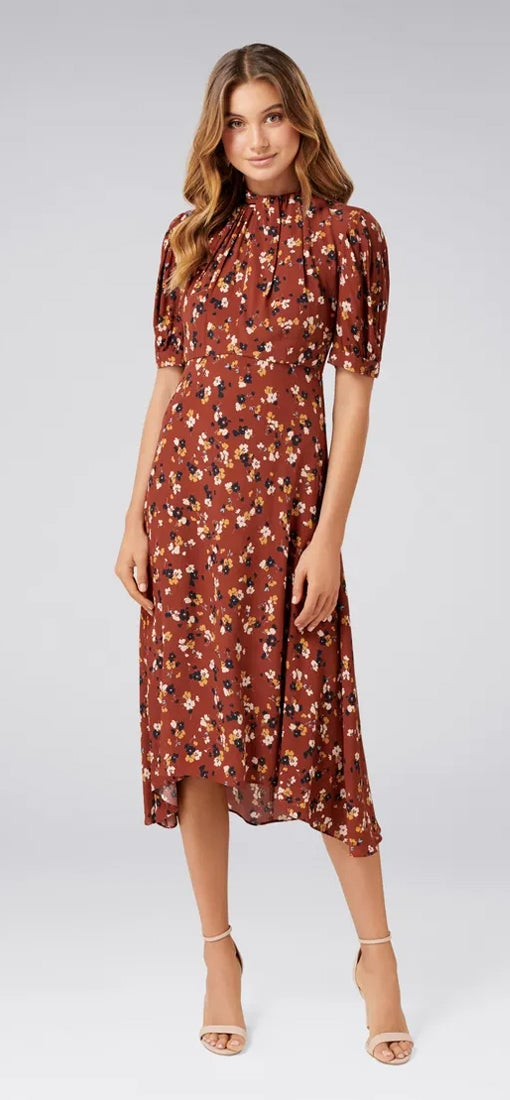 Tessa Puff Sleeve Midi Dress