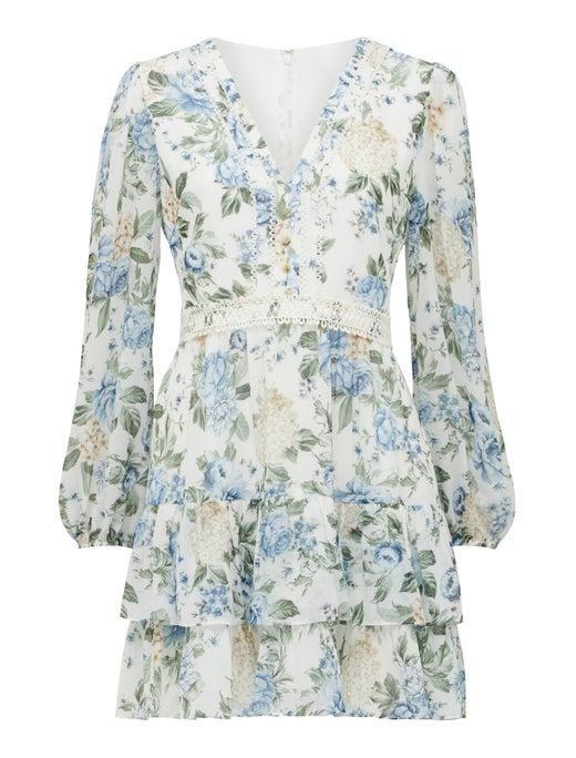 Mae long sleeve ruffle mini dress