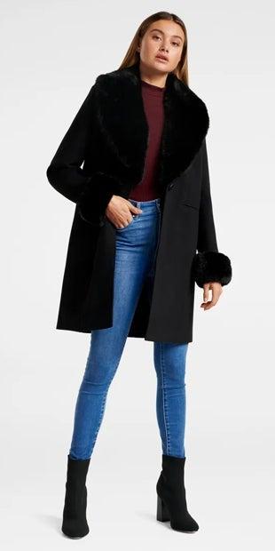 Aurora Fur Cuff Crombie Coat