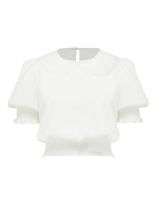 Amara Collared Broderie Puff-Sleeve Top